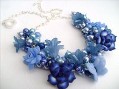 Blue Pearl Beaded Necklace Cobalt Blue Cluster by KIMMSMITH, $26.00