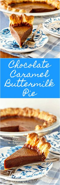 This chocolate caramel buttermilk pie is just a bit more sophisticated than a plain buttermilk pie. The flavor is complex, and the pie is rich yet light.  | Dessert Recipe | Food Recipe