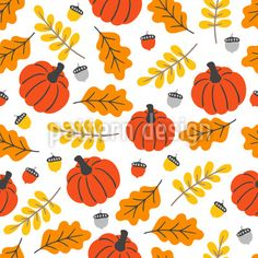 Pumpkin And Leaves Repeating Pattern Vector Pattern, Pattern Design, Acorn And Oak, Repeating Patterns, Warm Colors, Surface Design, Pumpkin, Leaves, Autumn