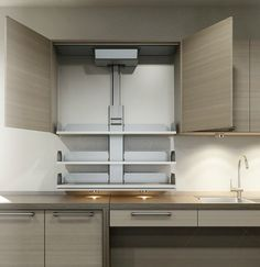 Vertical shelving lift, made by Granberg. Bring your shelving to you with the push of a button. Perfect for your Accessible Kitchen. Available from FreedomLiftSystems.com
