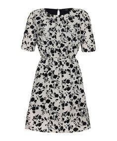 Black & white floral tea dress Sale - Iska Sale