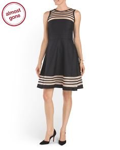 Shantung Fit And Flare Dress