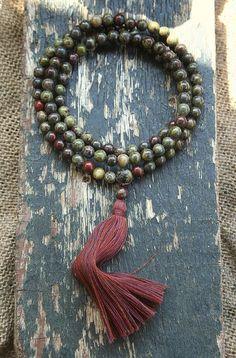 Beautiful bloodstone gemstone japa mala necklace - look4treasures on Etsy, $62.95