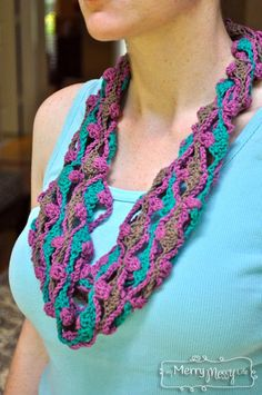 My Merry Messy Life: Crochet Clover Lattice Summer Cowl with Bernat Cotton-ish Yarn