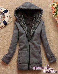 ♥Warme Mantel Damen Winterjacke Fleecejack mit Kapuze in 4 Farben+Gr. 34-42+NEU♥ | eBay