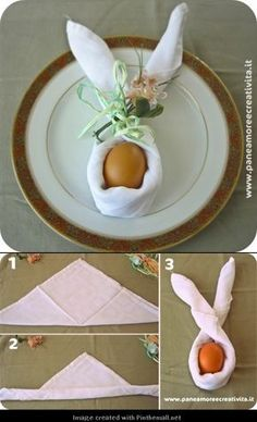 Folded napkin in bunny tutorial:
