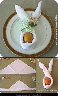 Folded napkin in bunny tutorial: