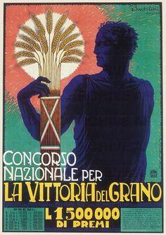 """G. Bartoletti Concorso nazionale per """"La Vittoria del Grano"""" , 1932 stampa litografica a colori su (Fondazione Massimo e Sonia Cirulli)"""