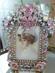 New  Bejeweled  Frame Vintage Jewels Pale Pink Weiss Judy Lee Designer Stones From The Collection  By Debbie Del Rosario-Weiss, Juliana,brush, comb, vintage, Clock,tray, mirror, perfume, antique, vintage, victorian, Sparkle,