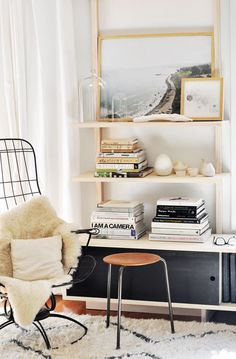 Black white and gold bookshelf