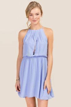 Lush Robinwood Solid Dress-Oxford Blue
