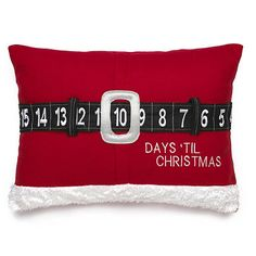 Advent cushion. Move Santa's belt around and the days till Christmas will be displayed in his buckle.