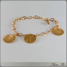 Gold Initial Bracelet - Hand Engraved, Personalized kids Initial, 18k Gold Plates, Stamp Bracelet, Gold Name Bracelet, Personalized Bracelet