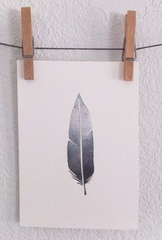 Gray and Black Ombre Feather- Original 5x7 Watercolor painting. $20.00, via Etsy.