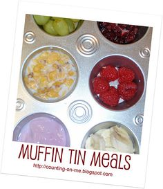 Muffin Tin Meals. Did this with my 3 year old for lunch today and she loved it! I used cute cupcake liner papers.