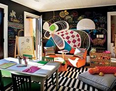 love chalk board paint! Magnetic Paint, Chalkboard Walls, Blackboard Paint, Diy Chalkboard, Black Chalkboard, Chalk Board, Chalk Wall, Chalk Paint, Playroom Ideas