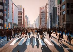 """GINZA, TOKYO 10"" By Socrates Rizquez - Enamels on melamine. www.socrates-art.es"