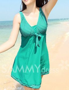 $16.17 Color Block Scoop Neck Stripes Bow Tie One Piece Slimming Swimsuit For Women