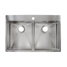 Franke Fast-in 33.5-in x 22.5-in Stainless Steel Double-Basin Drop-in or Undermount 1-Hole Commercial Kitchen Sink