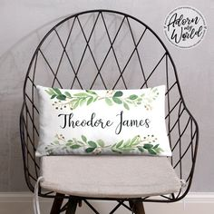 Personalized Name Pillow, Custom Name Cushion, Green Leaves Pillow, Nursery Throw Pillow, Personalized Baby Boy Gift, Baby Shower Gift Boy