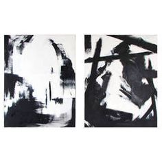 Large Black and White Oil on Canvas Abstract Paintings by Guillermo Calles
