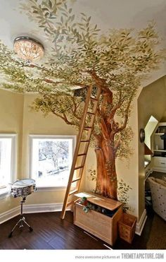 tree wall art with secret room in ceiling