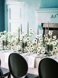 White Table Settings, Beautiful Table Settings, Wedding Table Settings, Wedding Decor, Green Table, Black Table, Deco Table, Modern Table, Black Decor