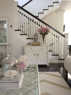 Love the black and white staircase! Very clean and chic!