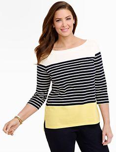 Talbots - Blocked Nautical-Stripe Cotton Tee | New Arrivals | Woman