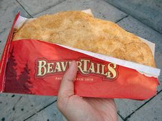 Anyone who has been skating on the Rideau Canal in Ontario is sure to have tried BeaverTails! These deliciously addictive, traditional whole-wheat pastries are stretched by hand to resemble the tail of a beaver, one of Canada's best-known national symbo Canadian Cuisine, Canadian Food, Canadian Recipes, Beignets, Just Desserts, Dessert Recipes, Summer Desserts, Sweet Desserts, Beaver Tails