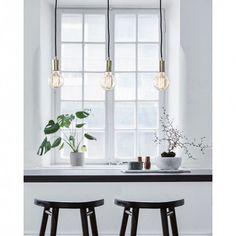 Sky 3 Light Bar Ceiling Pendant - Polished Brass - Powder Pastel - Shop the Trend - Lighting Direct Metal Ceiling, Ceiling Pendant, Ceiling Lights, Direct Lighting, Bar Lighting, Artwork For Home, Fluorescent Lamp, Light Fittings, Scandinavian Design