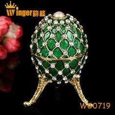 Home Decoration Faberge Eggs Crystal Figurine Jewelry Trinket Box Neon Color Easter Egg Magnet Metal Crafts