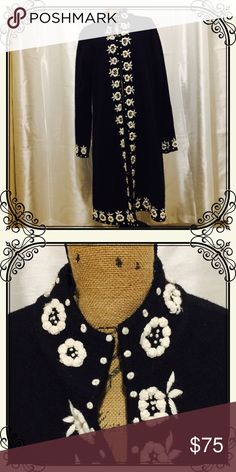 Black wool midi coat w/ embroidered white flowers Absolutely classy and gorgeous! Black 100% wool midi coat w/ embroidered white floral pattern. Hook and eye front closure. Kenar Jackets & Coats Blazers