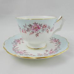 Aynsley Tea Cup and Saucer Pale Blue with Pink Flowers