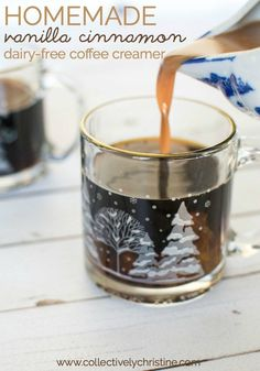 It's dairy-free and vegan. Dairy Free Coffee Creamer, Smoothie Drinks, Vegan Smoothies, Cinnamon Coffee, Clean Eating Breakfast, Homemade Vanilla, Dairy Free Recipes, Healthy Recipes, Easy Food To Make