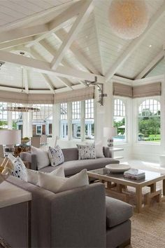 Wood ceilings painted white living room with vaulted ceilings exposed beams and Wood Ceilings, Vaulted Ceilings, Ceiling Beams, Custom Home Builders, Custom Homes, Hummingbird House, Small Country Homes, Painted Wood Walls, Home Warranty