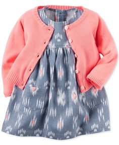 A playful print on cool chambray decorates the dress in this Carter's set, which also includes a bright cardigan for a cute and coordinated outfit.   Cardigan: acrylic; dress: linen/viscose; lining: c