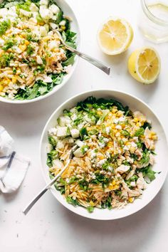 Orzo Summer Salad - with chicken and orzo, loaded with fresh veggies, and finished with a zippy lemon dressing and goat cheese