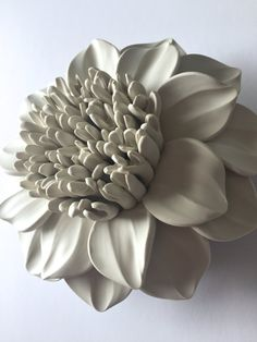 Full Center Dahlia Clay Wall Sculpture by DillyPad on Etsy