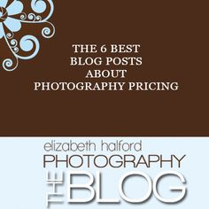 Without a doubt, the biggest area of frustration and confusion for start-up photographers is knowing what to charge. Here are 6 of my alltime favourite blog posts about pricing. Elizabeth Halford Photography. http://www.elizabethhalford.com/the-business-of-photography/pricing-the-business-of-photography/the-6-best-blog-posts-about-photography-pricing/
