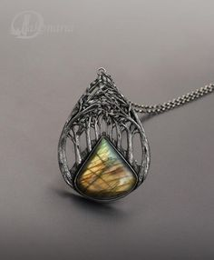 """""""Golden road""""- hand formed fine silver and labradorite. By Drakonaria"""