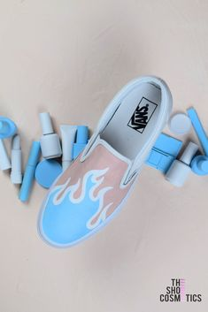 Explore our NEW nail inspired blue flame custom Vans slip on sneaker  makeover. Looking for f2f0ab021