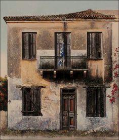 Call Art, Greek Art, Conceptual Art, Old Houses, Impressionist, Printmaking, Landscape Paintings, Greece, Fine Art