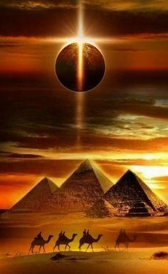 Solar Eclipse above Giza Plateau, Egypt. - Ilona Hoeber - Solar Eclipse above Giza Plateau, Egypt. Solar Eclipse above Giza Plateau, Egypt. Egyptian Mythology, Egyptian Goddess, Egyptian Art, Egyptian Tattoo Sleeve, Graffiti Kunst, Ancient Egypt Art, Ancient History, European History, Ancient Artifacts