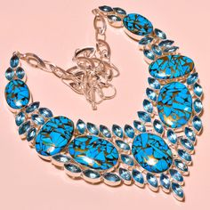 Blue Copper Turquoise & Faceted Swiss Blue Topaz Handmade Jewelry Necklace 18'' #Handmade