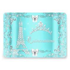Princess Quinceanera Magical Teal Blue Silver Custom Invitations party Invitations by Zizzago.com