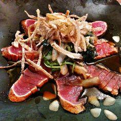 Cajun tuna top with spinach and onion crisp #paleo #paleodiet https://instagram.com/p/znyjEkj057/?modal=true