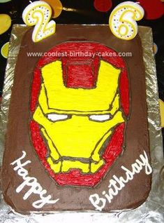 Homemade Iron Man Cake: I made this Iron Man cake for my husband's 26th birthday. He's a huge fan, and we both loved the movie, so I just had to make him a cake!   I just used