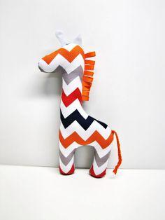Modern Chevron Giraffe plush toy stuffed animal baby boy nursery decor by RaggedyRAD. , via Etsy.
