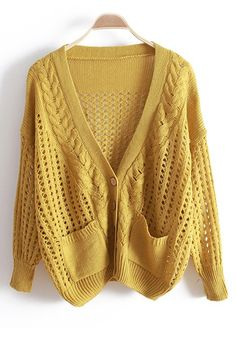 Yellow Hollow-out Bat Sleeve Knitted Cotton Cardigan